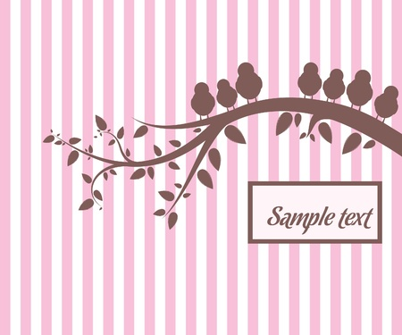 Background with birds on the branch Stock Vector - 9575366
