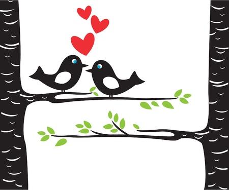 Love birds on tree