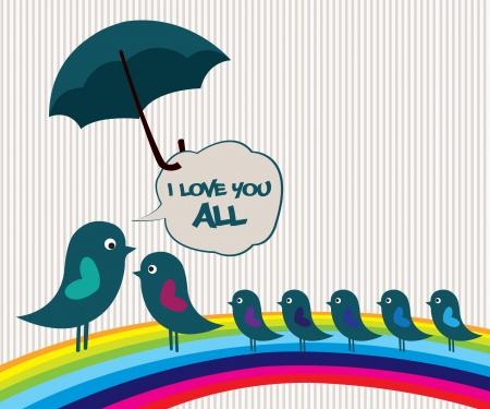 Vogels op regenboog