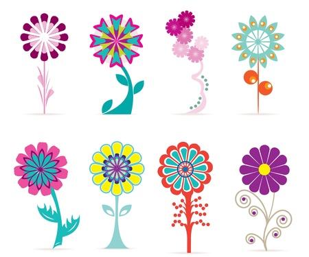 Retro bloemen Stock Illustratie