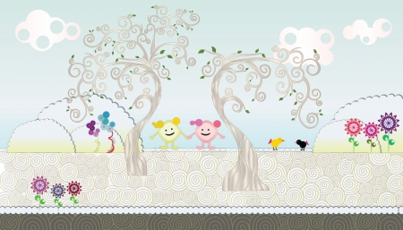 pink flower background: Fairy tale tree Illustration