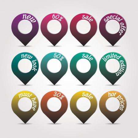 Set van verkoop tag stickers