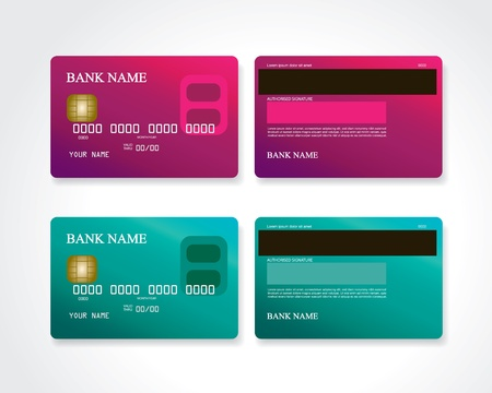 Credit card pink and turquoise