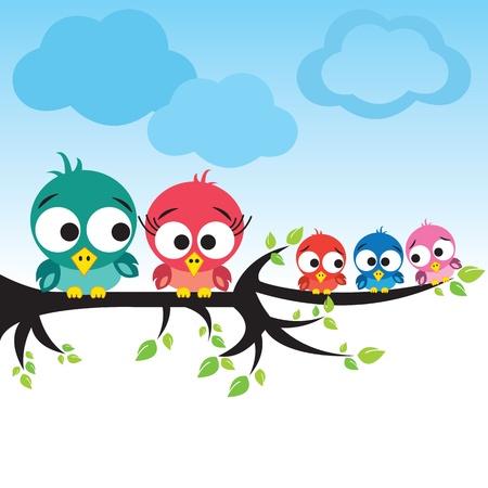 Vogels op boom