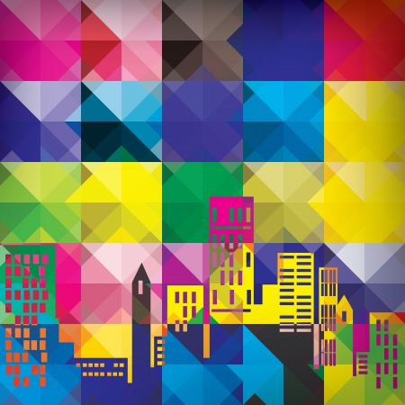 Colorful background with skyline Illustration