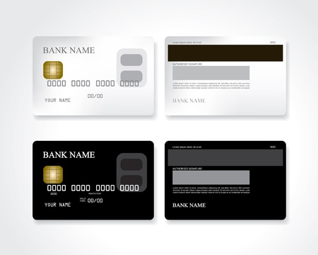 Credit card black and white Vector