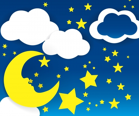 Moon and stars with white clouds Illustration