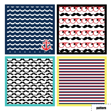 Pattern, background, texture with mustache and water anchor Illustration