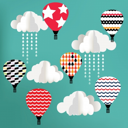 dibujo vintage: Nubes con el globo de aire caliente en el fondo azul