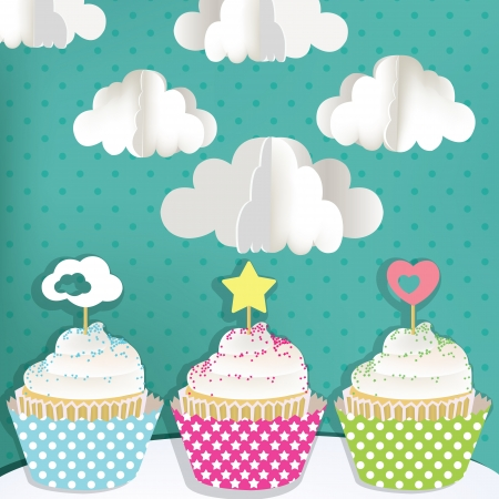 Colorful cupcakes with clouds