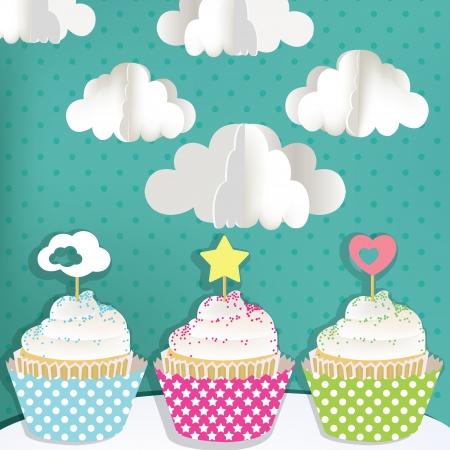 Kleurrijke cupcakes met wolken