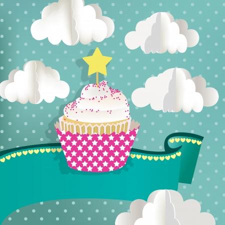 Cupcake met blauwe achtergrond