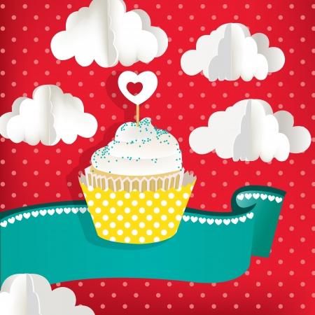 Cupcake met wolken en rode achtergrond Stock Illustratie