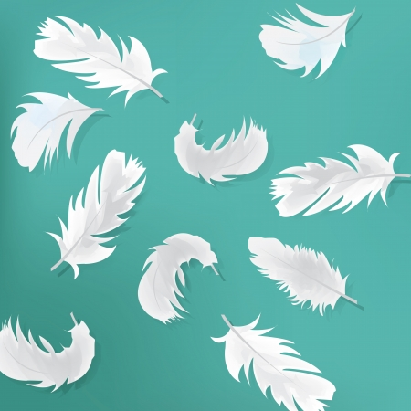 Blue abstract background with feathers Illustration