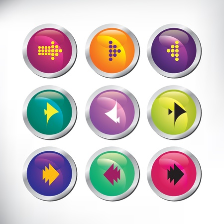 Set of color arrow buttons