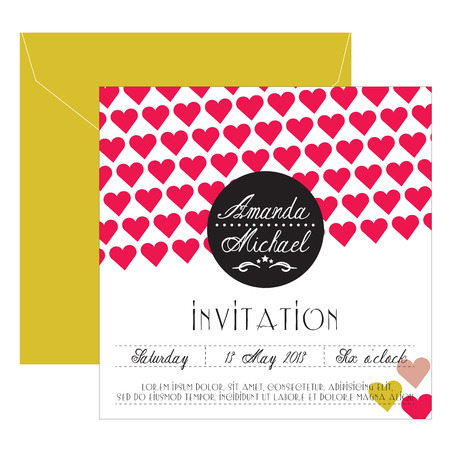 Wedding invitation with hearts