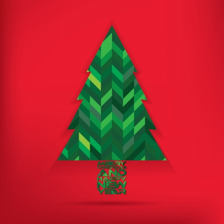 Christmas tree with red background Vector
