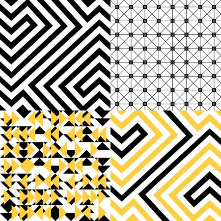 Black, white and yellow geometric patterns set