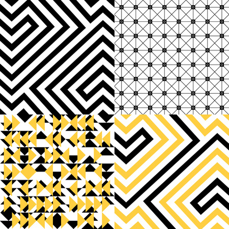 Black, white and yellow geometric patterns set