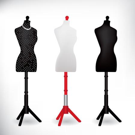 Female Dressmakers Mannequin black and white Illustration