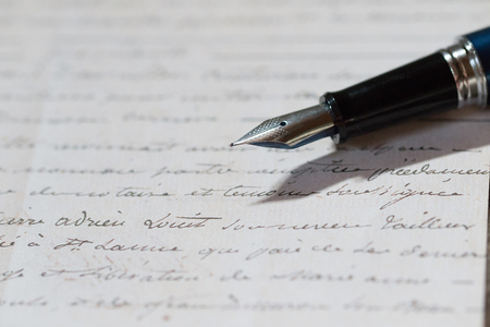 letter memo: fountain pen and letter Stock Photo