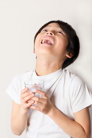 Children to gargle Stock Photo