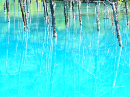 biei: blue pond Stock Photo