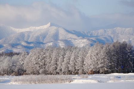 北海道冬の山脈 写真素材