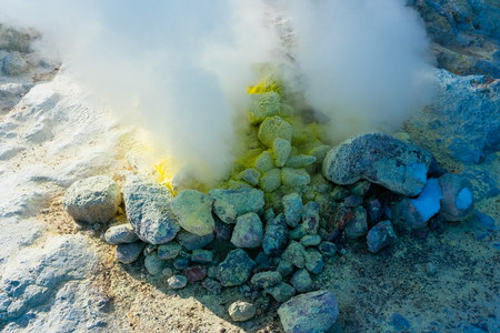 sulfur in mountain Stock Photo