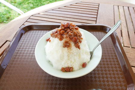 Shaved ice of red beans 写真素材
