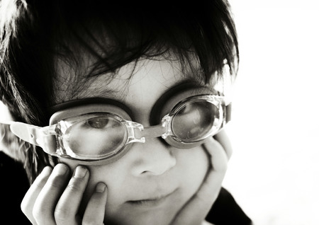 underwater glasses with boy