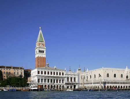 view of venetias san marco tower and the doges palace  photo