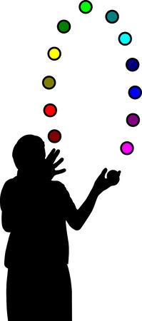 Giocoliere con competenze di cervello colorate palline-formazione Archivio Fotografico - 5744417