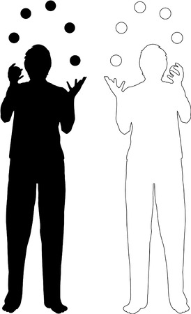 juggler: silhouette and outline-illustration of juggling men