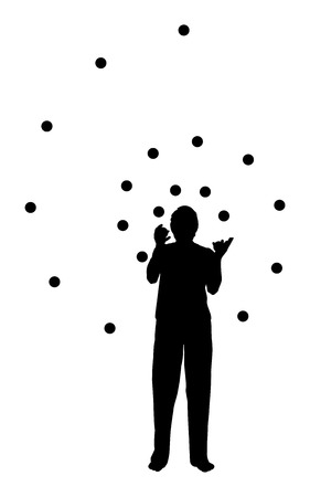 juggling: silhouette of a man juggling in spiral form Illustration