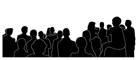 viewers: silhouette of an audience- white outline