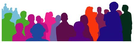 viewers: colorful silhouettes of an audience - illustration Stock Photo