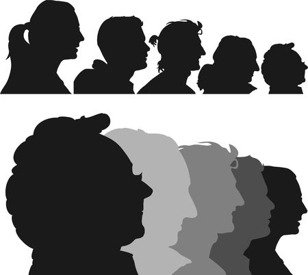 face silhouette: 5 profile silhouettes of women and men-illustration