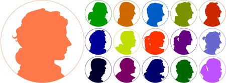 set of illustrated colorful human heads Stock Photo - 6682364