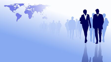 business people silhouettes on world map background photo
