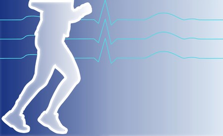 medicate: illustration of a jogging man with heart analysis signs