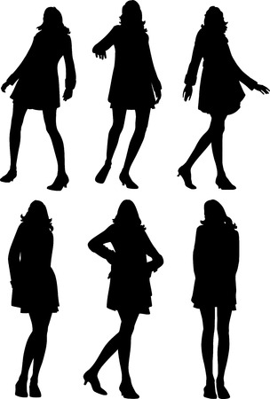 6 silhouettes of posing women - vector illustration Vector