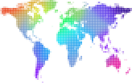 dotted world map: world map background illustration - colorful dots