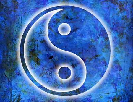 symbolic: yin and yang symbol on blue background grunge