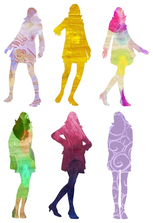 6 colorful silhouettes of art textured posing women photo