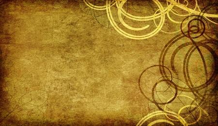 vintage background - swirls on old paper grunge Stock Photo - 9052634