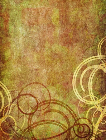vintage background - swirls and floral pattern old paper grunge