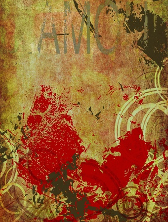 mixed media: old paper background grunge with different textures added Stock Photo