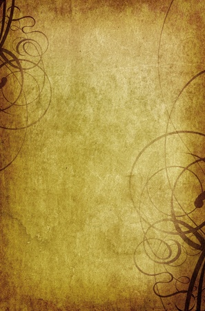 vintage background with swirls - old paper grunge Stock Photo - 9160238