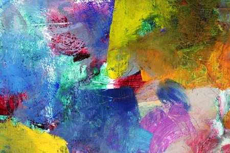 acrylics and oil paints in different layers